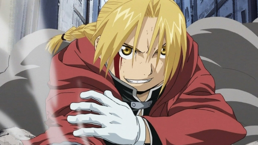Edward Elric, ready for action in Fullmetal Alchemist: Brotherhood.