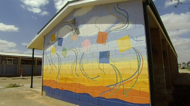 The Freedom mural, painted and designed by inmates at Woomera.